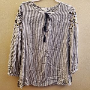 Old Navy Boho Striped Tassel Tie Blouse